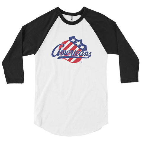 Rochester Americans Adult Primary Logo 3/4 Sleeve Raglan Shirt
