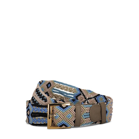 Cappuccino, Blue & Black Woven Belt