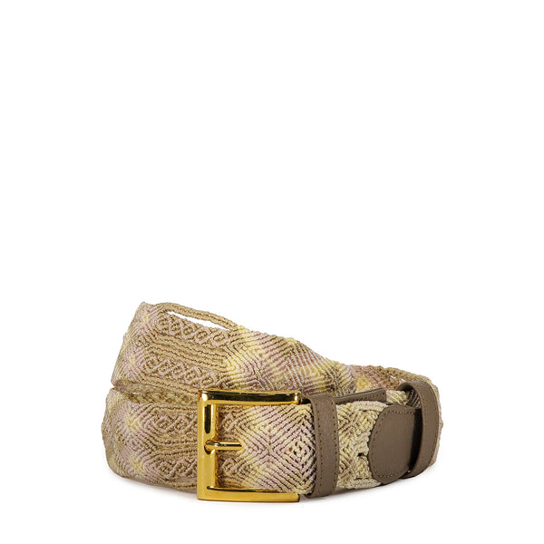 Cream & Taupe Woven Belt - Tea & Tequila