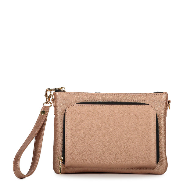 Dusty Rose Concha Bag in Leather - Tea & Tequila