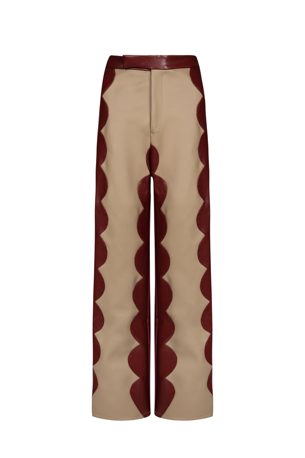 Cappuccino Cactus Leather Scallop Trousers - Tea & Tequila