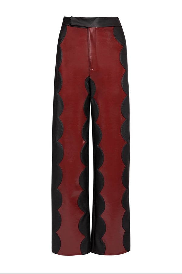 Claret Cactus Leather Scallop Trousers - Tea & Tequila