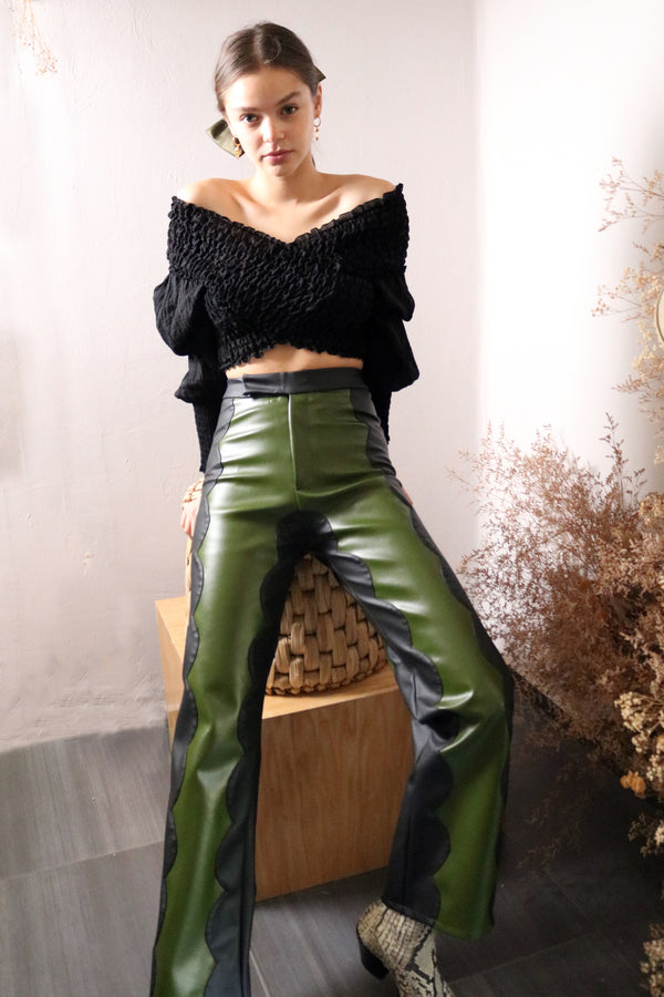 Khaki Cactus Leather Scallop Trousers - Tea & Tequila