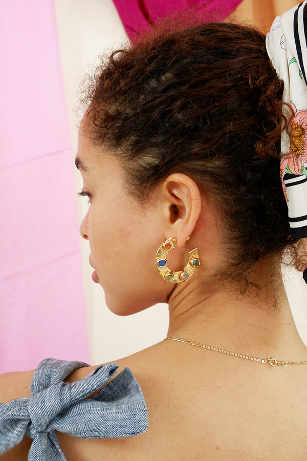 Multi Gemstone Maya Hoops - Tea & Tequila