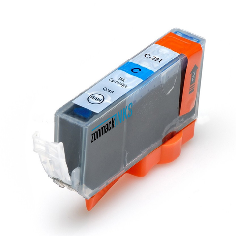 Single Cyan Canon CLI-221C Compatible Ink Cartridge by Zonmack Inks™