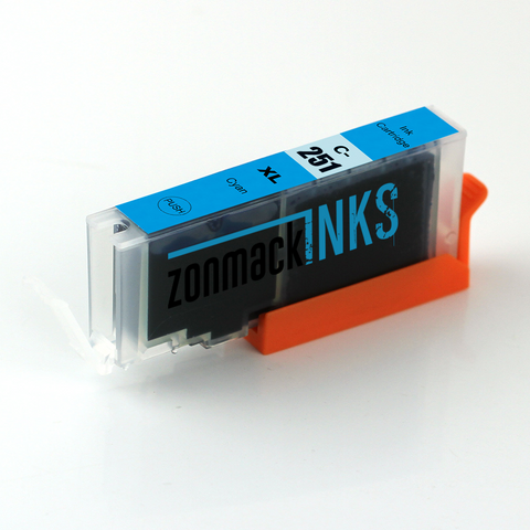 Single Cyan Canon CLI-251XLC Compatible Ink Cartridge by Zonmack Inks™