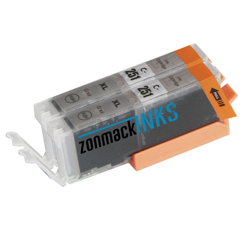 Two Gray/Grey Canon CLI-251G Compatible Ink Cartridges by Zonmack Inks™