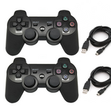 Wireless Controller for PS3 (2-pack) - Playstation 3 DualShock 3 Wireless Controllers Black with Two USB Cables Included