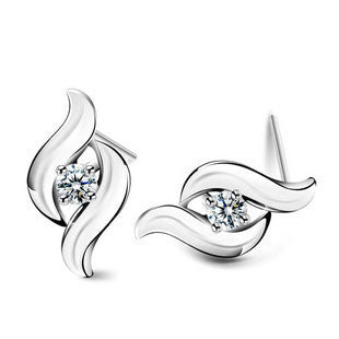 Ribbons and CZ Earrings in 925 Sterling Silver