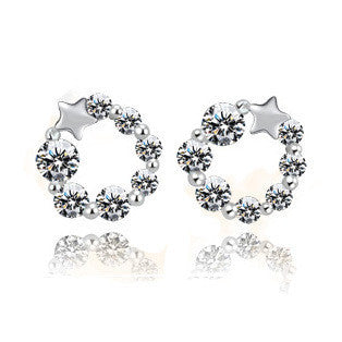 Star Wreath Earrings in 925 Sterling Silver