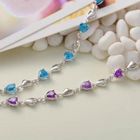 Blue or  Amethyst Heart  925 Sterling Silver Bracelet