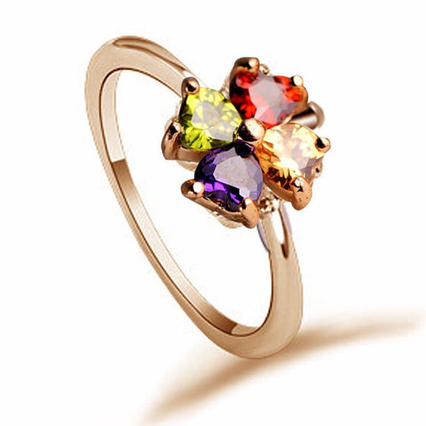 4 Leaf Clover Zircon Ring - 2 color choices