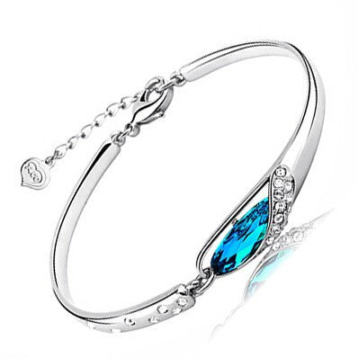 Blue Crystal  Glass Bangle