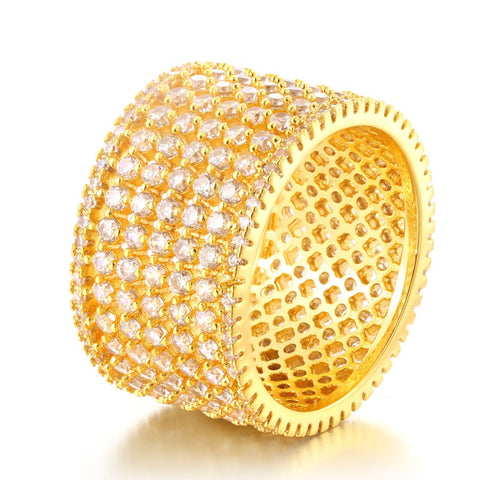7 Rows Multi CZ Gold Ring