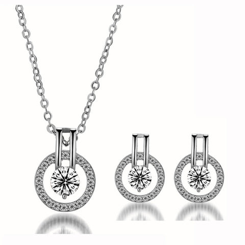 AAA Zircon Time Tellers Necklace + Earrings Set in Silver or Rose Gold