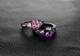 AAA Zircon  Black Gold Ring in Pink or Purple