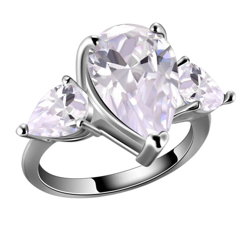 3 Pear Shaped CZ Ring