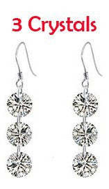 3 Crystal Zircon Drop Earrings