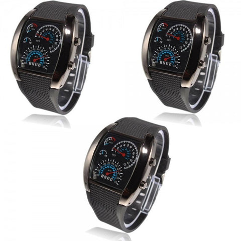 3pcs Stylish Blue LED Light Steel Case Aviation Speedometer Analog Wrist Watch Black