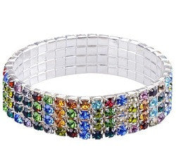 4 Row Multi Colored Crystal Tennis Bracelet