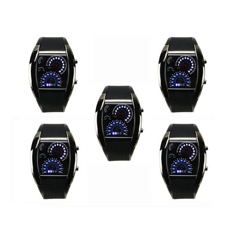 5 PCS Stylish Blue LED Light Steel Case Aviation Speedometer Analog Wrist Watch Black
