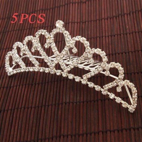 Charming Rhinestone Crown Comb Tiara Silver - 5pc