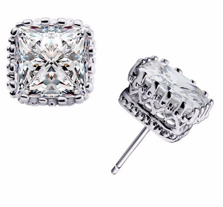 8mm Square Crown Crystal Earrings in silver or gold
