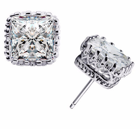 7mm Square Crown Crystal Earrings in silver or gold