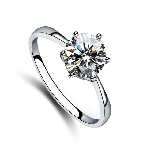 8mm 2 carat Crystal Zircon Round Solitaire Ring