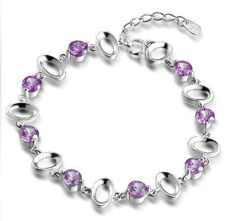 Amethyst or CZ Os 925 Sterling Silver Bracelet - 2 colors