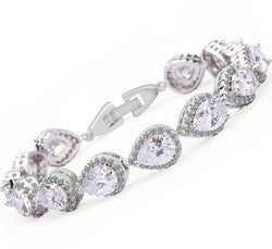 AAA Zircon Crystal Tear Drop Pear Bracelet in 3 colors