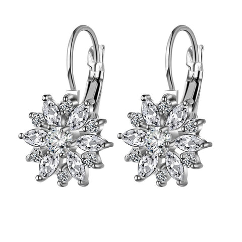 AAA Crystal Zircon Snowflake Earrings in 3 colors