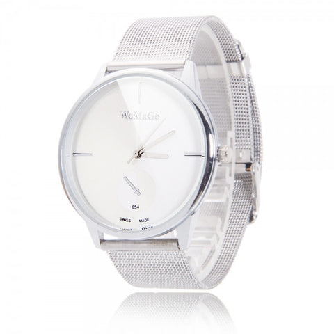 Alloy Men Simple Super Slim Steel Band Quartz Wrist Watch White
