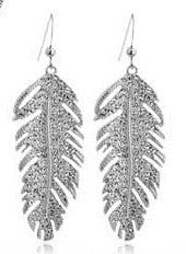 Feather Crystal Earrings in silver or gold