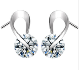 Austria CZ Crystal Elegant Silver Plated Earring in 3colors