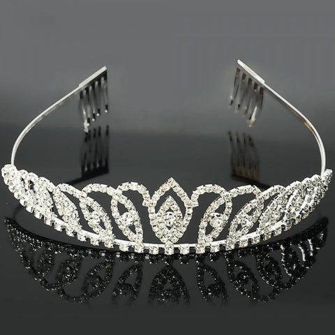 Brothers Connected Bridal Jewelry Rhinestone Crown Hair Comb Pin Tiara