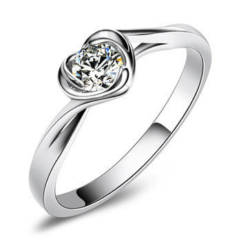 Bloom/Heart CZ 925 Sterling Silver Ring