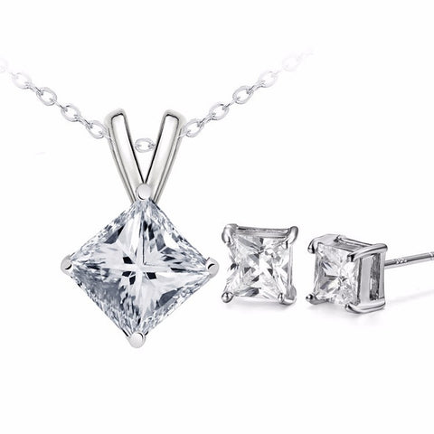 Classic Square Cubic Zircon Necklace + Earrings Set