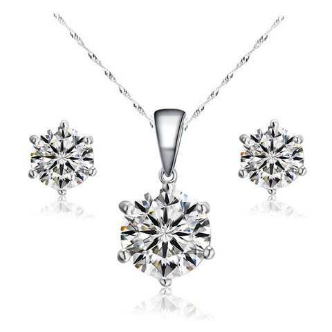 6 Angle Crystal Zircon Necklace + Earrings Set