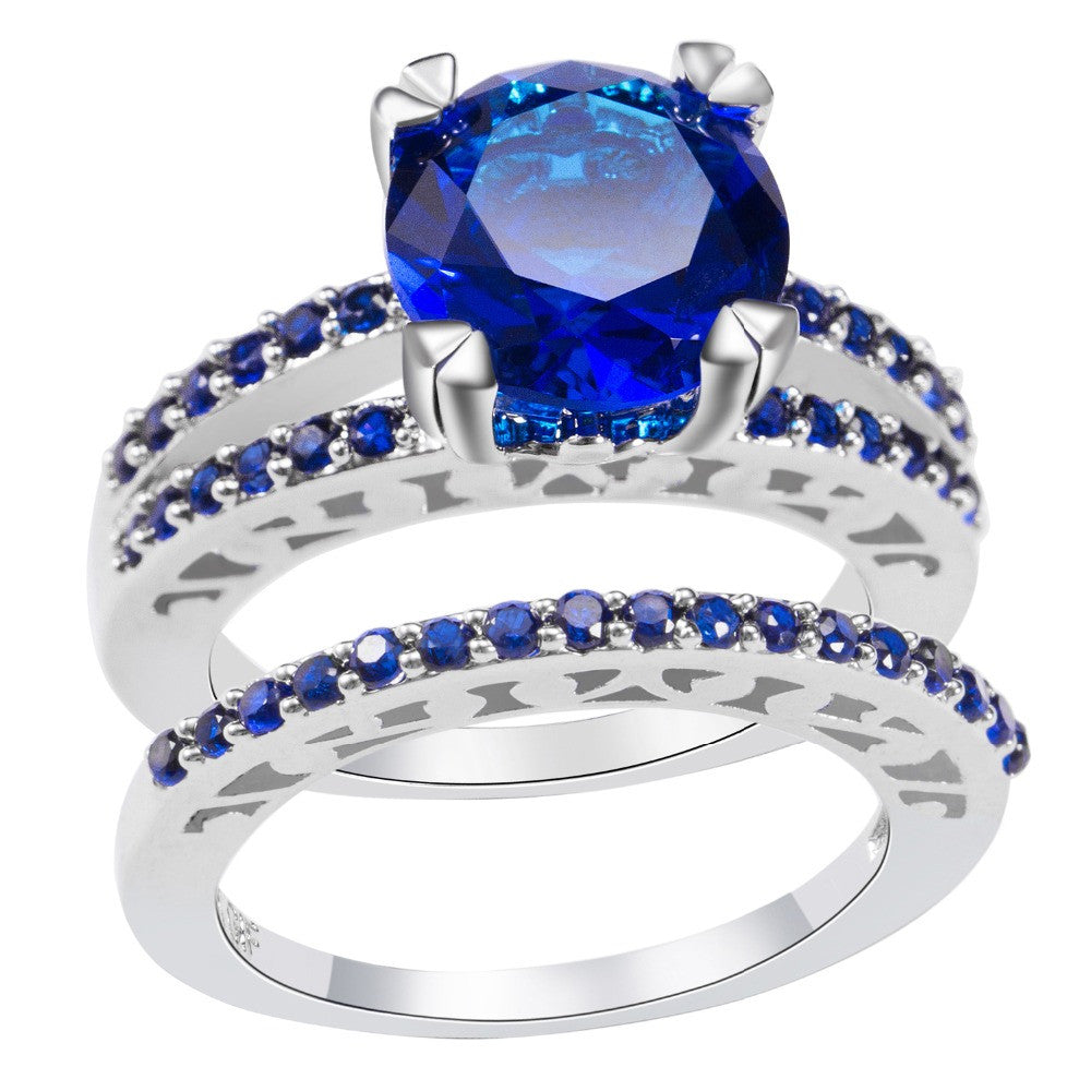 Crystal Zircon Blue Ring Set