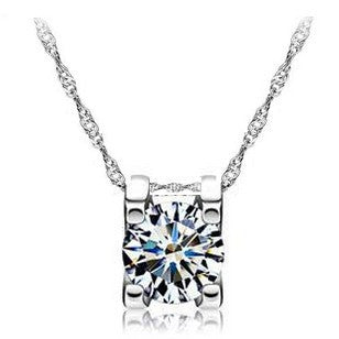 Crystal Round Zircon Set in Square Pendant Necklace