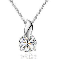 Crystal Round Zircon Pendant Necklace