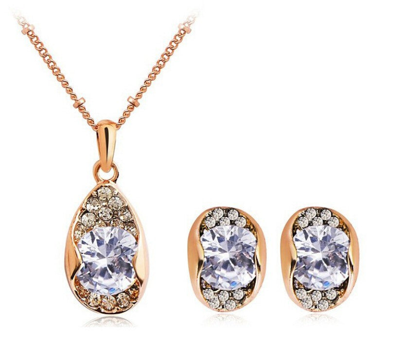 Crystal Zircon Water Drop Necklace + Earrings Set in 2 Colors