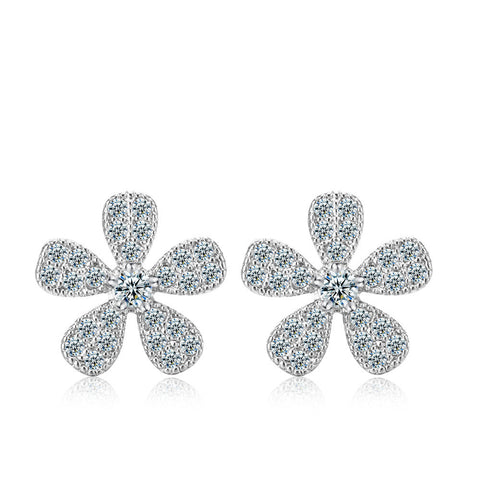 5 Petal Flower CZ Earrings