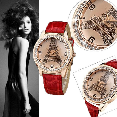 Fashion Women Ladies Small Paris Tower Diamond Encrusted Leather Band Quartz Wrist Watch Red