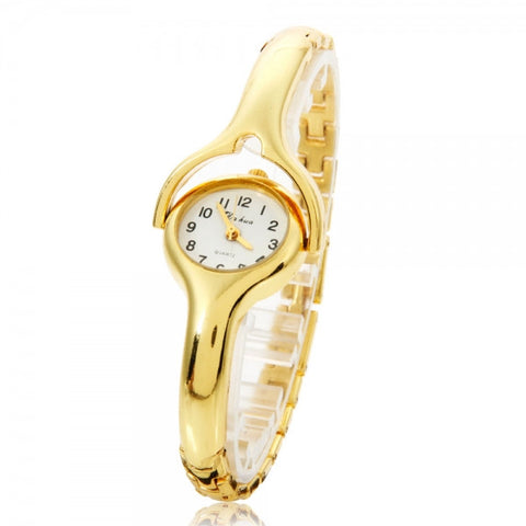 Fashionable Arc-shaped Female Wrist Watch with Golden Chain Strap and Mobilizable Dial