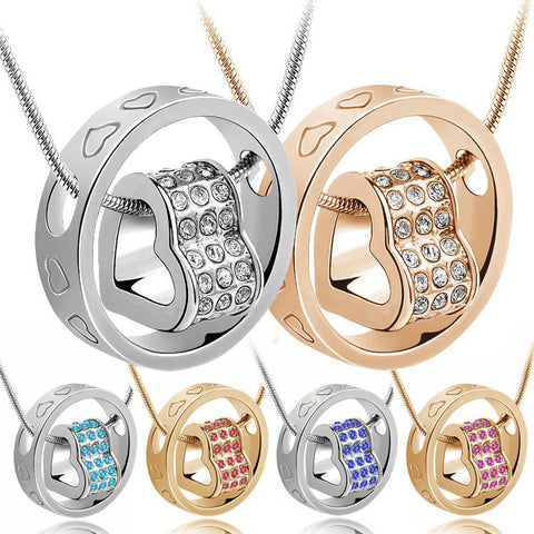 Crystal Heart  and Ring Pendant Necklace in 14 color choices