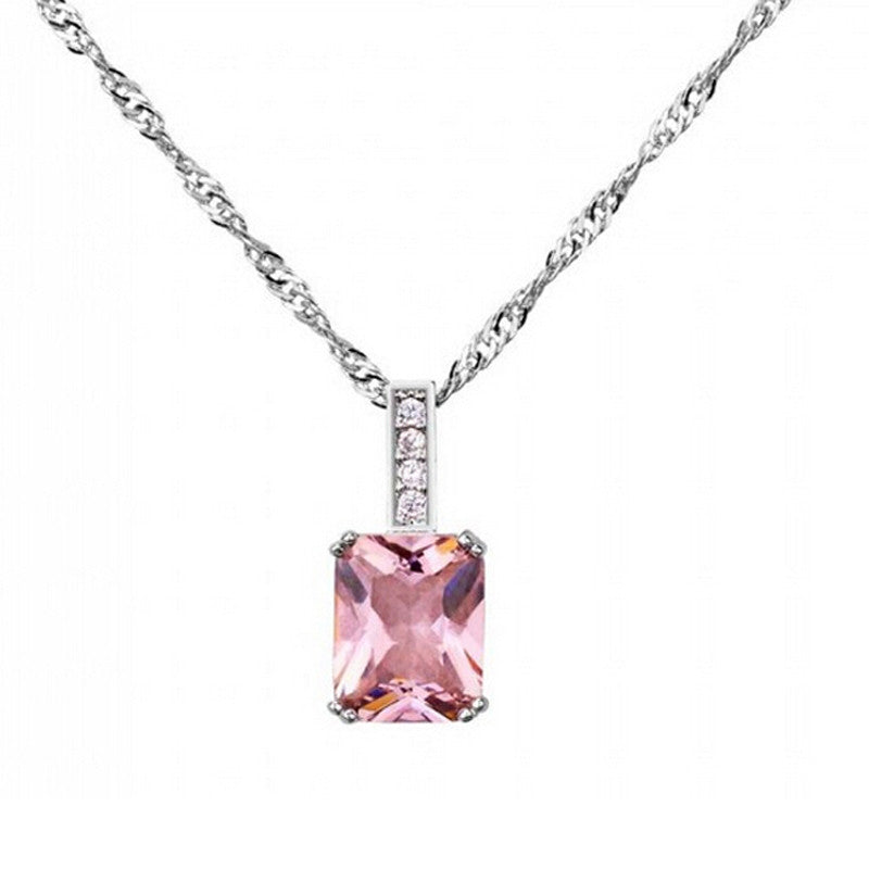 Emerald Cut Pink Crystal Pendant Necklace