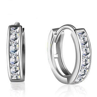 Single Row CZ Earrings in 925 Sterling Silver