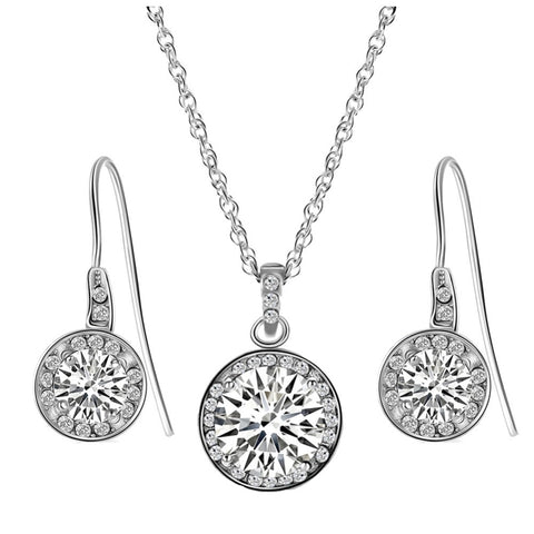 Big Round Crystal Zircon Necklace + Earrings Set